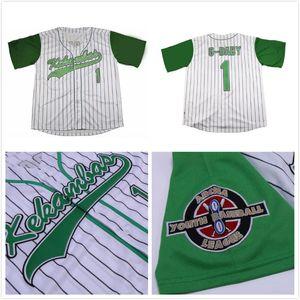 영화 Hardball # 1 Jarius G-Baby Evans 화이트 Dewayne Warren Stitched Kekambas Film Baseball Jersey Side S-XXXL