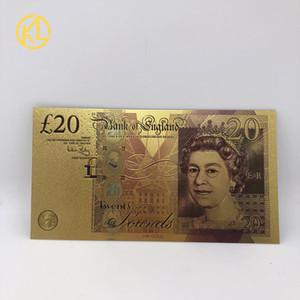 저렴한 운송 1 개 다채로운 영국 파운드 (20) 은행권 정상 골드 도금 환율 빌 영국 공예 돈