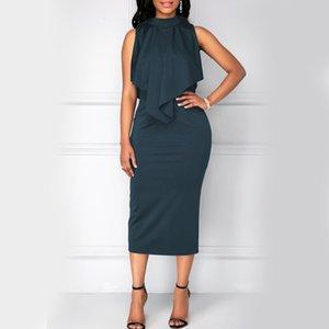 Más el tamaño de la oficina de señora elegantes vestidos de verano de 2020 de las colmenas sin mangas recto vestido elegante trabajo de la manera vestidos de negocio Midi