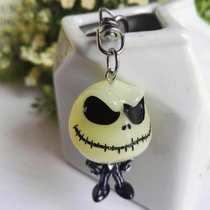 Key Chain luminoso Skull Jack Doll Ciondolo Eva Scare Skeleton portachiavi di Natale Jack Gift Bag accessori in resina Ciondolo