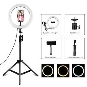 Pulluz 10.2 pollici 26cm Light Light + 1.1m Treppiede Mount USB 3 Modalità Dimmable Dual Color Temperature Temperatura LED Luce diffusa curva luce Vlogging Selfie Pho