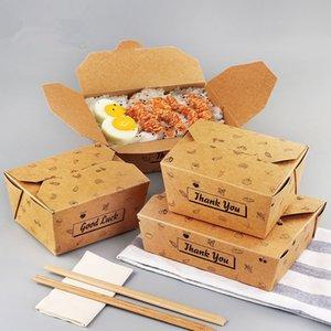 25pcs jetables en papier kraft à emporter Boîte Fried Chicken Pâtes Snack Conteneurs barbecue pique-nique Accessoires de cuisine jetables Dinn