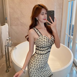 Dress dress 2020 summer new women's dress celebrity sexy off shoulder slim lace halter 3957