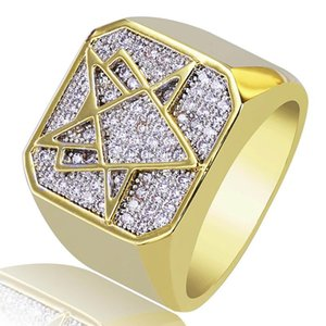 Exquisite 18K Gold Plated Copper Geometric Ring Jewelry Hip Hop Men Luxury Fashion Zircon Finger Cluster Rings Wholesale LR039