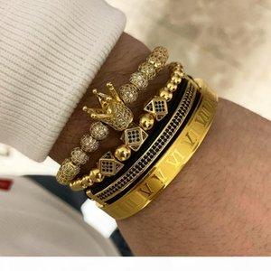 Fashion 4Pcs Set Hot Sale Classical Handmade Braiding Bracelet Gold Hip Hop Men Pave CZ Zircon Crown Roman Numeral Bracelet Luxury Jewelry