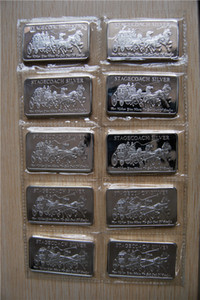 Silver Bar America One Ounce 999 Fine Silver Plated Coin Bars Sealed Stagecoach Silver Bar