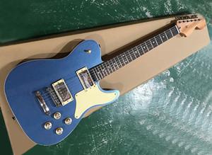 Fábrica Atacado metálica azul da guitarra elétrica com Rosewood Fretboard, creme Pickguard, pode ser personalizado como reques