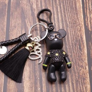 2020 Bomgom Tassels Cartoon Popobe Gy Bear Keychain Cute Bag Charm Holder Cartoon Resin Key Chain Fo-K004-black