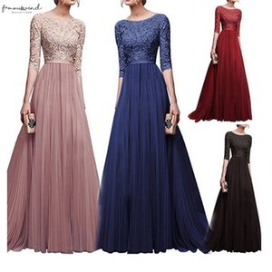 2020 Elegant Half Sleeve Chiffon Lace Stitching Floor Length Maxi Women Party Prom Formal Dress Plus Size Vestidos Robe