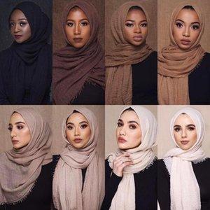 Senhoras algodão e linho Mulheres hijabs Sólidos longo xaile lenço principal Feminino Hijab Plain muçulmana Moda Lenço
