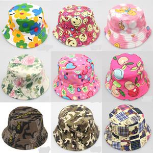 2-6T Bebé de dibujos animados Imprimir Bucket Sun Hat Floral Niños Verano Panamá Gorras Bebé niñas Pescador Sombrero de paja Niños Niños Topee cap