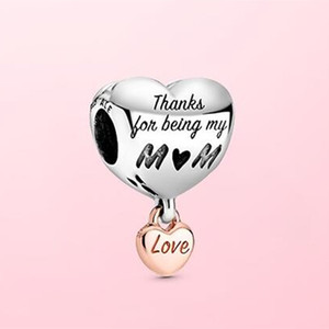 2020 Mother's Day 925 Sterling Silver Love You Mum Heart Charm Bead Fit European Pandora Charm Bracelet & Necklace