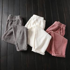 가을 겨울 코듀로이 바지 여성 플러스 사이즈 3XL 탄성 허리 하렘 바지 캐주얼 코듀로이 바지 여성 Pantalon Mujer C4856 V191021