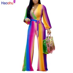 Multi Color Printed Fashion Frauen Streetwear Ganzkörper-Overall Sexy Deep V Neck Belted Details Breite Beine Hosen Overall Y19071701