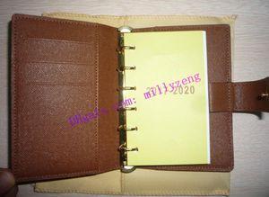 Мода реальная телячья кожа небольшое кольцо повестка дня крышка R20700 поставляется с 75 страниц заправки коричневый холст покрытием ноутбука
