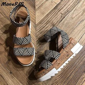 MoneRffi 2020 donne della piattaforma donne dei sandali peep toe zeppe altissime tacco Fibbie Sandalia Espadrillas sandali femminili Scarpe