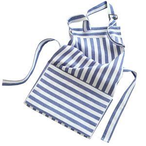 Azul e branco listrado avental americano simples cozinha criativa avental moda engrossar bolso avental de algodão