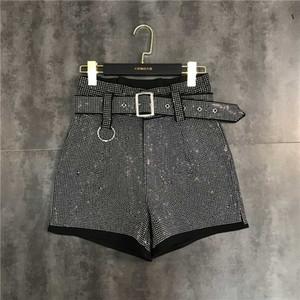 벨트 띠 라인 석 시니 블링 느슨한 패치 워크 플러스 사이즈 반바지 바지 SMLXL 유럽의 새로운 디자인 여성의 높은 허리
