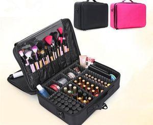 Caja de bolsa de pincel de maquillaje Maquillaje Organizador Bolsa de aseo Bolsa de cosméticos de almacenamiento Cajas de herramientas de arte de uñas grandes con X180 portátil
