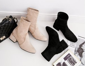 Hot Sale-new Korean Fashion Square Head thick heel short boots show thin middle heel Martin boots