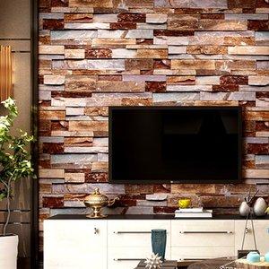 3D estereoscópico Faux Stone Brick Wallpaper para paredes 3 D Sala de TV fundo vinil Wallpaper Papier Peint