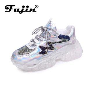 Fujin Женщины кроссовки 2019 Spring Fashion Thick Sole Женщина платформы обувь Высота Увеличение Коренастый Женщины Повседневная обувь