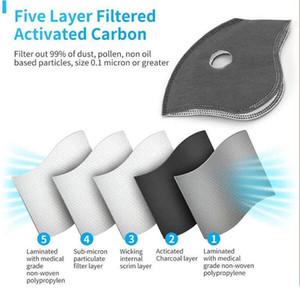 5 Katmanlar Aktif Karbon Filtre Bisiklet Maskesi Filtre Değiştirme Karşıtı Hava kirliliği Toz Pm 2.5 Yarım Yüz Bisiklet Bicyle Spor Maske Filtreler