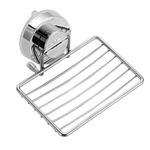 Rustproof Storage Stainless Steel Tray Powerful Shower Container Sponge Suction Cup Bathroom Shelf Soap Holder Drain Rack Sink
