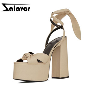 ZALAVOR Super High Heel Sandals European New Platform Shoes Women Summer Ankle Strap Catwalk Show Footwear Size 34-43