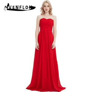 Venflon 2019 Elegant Chiffon Brautjungfer Hochzeit Langes Kleid Frauen Sommer Sexy Trägerlos Maxi Kleider Weibliche Plus Größe 3xl Y190507