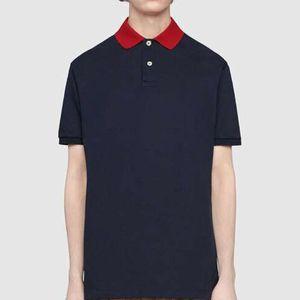 20FW Red Kragen Stickerei Polo mit kurzen Ärmeln Beiläufiges Geschäfts-T-Shirt Tooling Solide Einfache Summer Street Tee New Style HFHLTX106