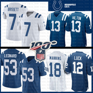 Indianapolis 53 Darius Leonard Football Jersey Colt 13 T.Y. Hilton 7 Jacoby Brissett 12 Andrew Chance 18 Chandails Peyton Manning Mens 01
