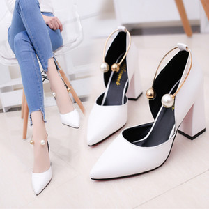 Spring and autumn 2019 new fashion versatile elegant pearl high heels with white platform shoes fashion simple women's shoes