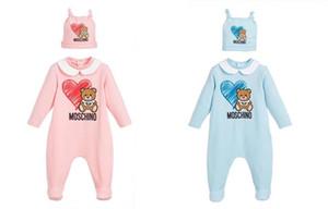 2020 nuevas muchachas de los bebés de dibujos animados oso mamelucos infantiles de la manga larga del mono con los sombreros del algodón del niño recién nacido Onesies de una sola pieza
