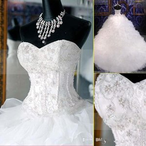 2019 Luxury Beaded Embroidery Bridal Gown Princess Ball Gown Sweetheart Corset Organza Cathedral Church Garden Wedding Dresses