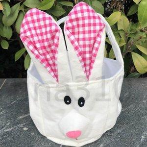 Easter storage basket hand basket long ears plush Easter rabbit decorated small round basket Easter Gift Bag homeware T2D5017