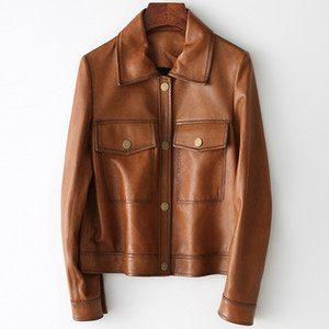 Autumn 2020 Winter New Genuine Leather Biker Jacket For Women Ladies Sheepskin Scooter Short Slim Zipper Coat Size S-2XL