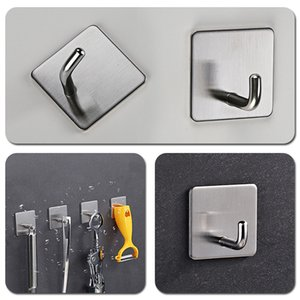 Stainless Steel Wall Hook Self Adhesive Sticky Kitchen Home Bathroom Bath Ball Key Bag Coat Hanger Storage Hanging Holder Rack