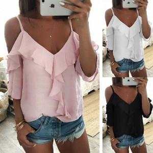 Omuz Bluz Kadınlar Yarım Kol Spagetti Askı fırfır Bayan Ve Bluzlar Yaz Beyaz Gömlek blusa S-XL Tops Off