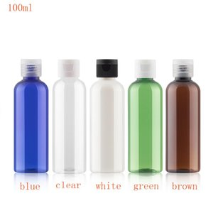50pc 100мли белого синего коричневой пустого ПЭТ бутылка флип крышки круглого плечо прозрачного пластик Цвет путешествие Заправки небольшие пузырьки выборочных