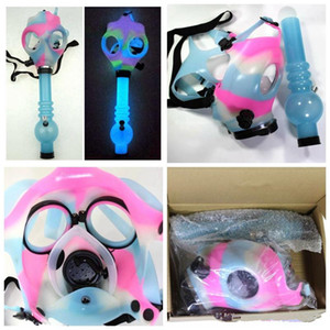 2020 NEW Gas Mask Bong Both Glow in the Dark Water Shisha Acrylic Smoking Pipe Sillicone Mask Hookah Tobacco Tubes Free Shipping Wholesale