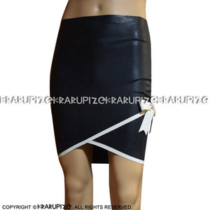 Black With White Trims At Bottoms Sexy Latex Skirts With Bows Rubber Skirt Bottoms Uniform DQ-0026