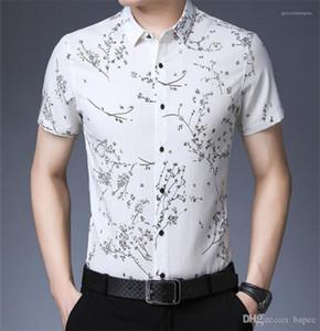 Mode Hommes Polo T-shirts manches courtes Lapel Casual Slim Mens T-shirts d'été imprimé floral