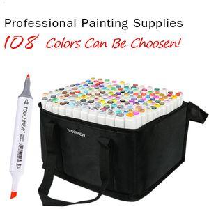 80 cores Set Art Escova marcadores Pen para desenhar à base de álcool Marcadores Suprimentos Dual Head Manga Desenho Canetas Arte