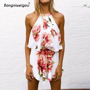 Bangniweigou Estampado de flores de dos piezas Set Top Falda Mujeres Halter Neck Crop Top Pantalones cortos de skater de gasa 2 piezas Conjuntos Mujeres Trajes
