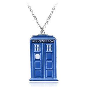 Новый синий ТАРДИС ожерелье Доктор Кто полиция коробка кулон ожерелье доктор таинственный дом ожерелье макси панк заявление ювелирные изделия
