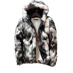 Зимняя мода шуба Мужская одежда Черный и белый Печатается с длинным рукавом Толстые искусственного меха Молния куртки с капюшоном куртки
