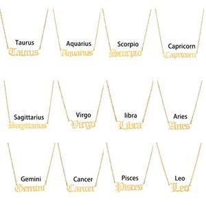 Letter Arrival New Zodiac Stainless Steel Ship Scorpio Necklace Aquarius Necklace Gemini Sagittarius Jewelry Pendant Drop Taurus Kseqg