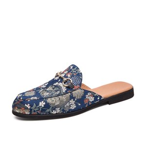 Summer Men Shoes Black Blue Men Half Slippers High Quality Men Leather Casual Shoes Loafers Flip Flops Lightweight Flats Sandals