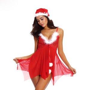 Femmes fête rouge Coupes dentelle Mesh Babydoll vacances de Noël avec Chemise blanche floue et irrégulière Hem Buste Lingerie Sexy intime S-XXL